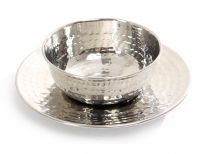Hammered Stainless Steel Soup Bowl with Plate