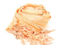 Long threads like fringes decorates the ends of this sumptuous peach semi-sheer scarf updated with grey woven stripes. Yarn dyed 100% viscose open weave scarf. Imported. Hand wash.