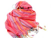 Dark coral with orange & red hues viscose scarf with twisted fringes on the edges. Multi colored woven stripes makes it more vibrant. Yarn dyed 100% viscose material. Hand wash. Imported.