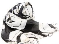 Black & white scarf in yarn dyed 100% viscose material. Twisted long fringes on its ends. Hand wash. Imported.