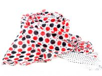 Long fringed scarf in 100% yarn dyed viscose material with bi-colored big polka dots print and also small polka dots on the vertical edges of it. Hand wash. Imported.