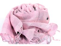 Shimmery pink colored yarn dyed viscose scarf in open weave pattern. Broad striped pattern in same color. Made of 95% viscose and 5% metallic. Imported.