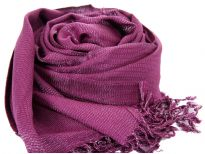 Plum colored shiny viscose scarf in Yarn dyed 95% viscose and 5% metallic material. Shimmery metallic is woven into the scarf & gives an edgy look to it. Imported. Hand wash.