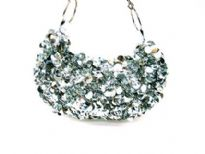 Sequin Hand Beaded Evening Bag. Top Zipper closing.