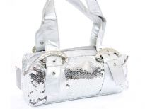 Sequin Evening Bag. Top Zipper Closing.