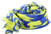 Artistic Print in Lime Green color floats over this Royal Blue colored 100% polyester which is semi-sheer & quite big in size. Eyelash fringe on the ends of the scarf. Imported.