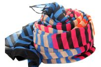 This sheer scarf has horizontal striped design in five colors in a fixed pattern. This dark hued scarf can add life to any kind of outfit day or night. 100% polyester scarf.