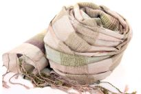 Beautiful gold rose & sage metallic vertical plaids scarf has horizontal gold & silver colored plaids. Broad multi colored border along the width of scarf & also long twisted fringes completes this 100% viscose scarf. Classy scarf can also be teamed up with a formal dress as a shawl. Imported.
