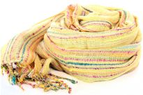 Beautiful Yellow colored design scarf has horizontal open weave pattern. Long twisted fringes completes this 100% viscose scarf. Classy scarf can also be teamed up with a formal dress as a shawl. Imported.