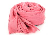 Beautiful Pink colored scarf has horizontal open weave pattern. Long twisted fringes completes this 100% viscose scarf. Classy scarf can also be teamed up with a formal dress as a shawl. Imported.