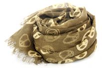 Olive green colored semi-sheer scarf has peace sign print in different designs in a fixed pattern. Eyelash fringe on the ends of this 100% viscose scarf which can add a statement to an outfit. Imported.