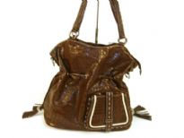 PVC Crocodile embossed handbag. Top zipper closing.
