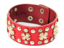 Genuine Leather Studded Wide Cuff Fashion Bracelet with button closure. Small buttons & cross shape studs makes this bracelet to be matched with any kind of outfit.