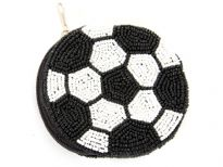 Beaded coin purse in the shape and colors of a soccer ball.  Top zipper closure with wrist strap. Identical beading on both sides. Made of 100% Rayon with sequins and beads. Imported. Since this item is hand-beaded, the color or design may vary slightly.