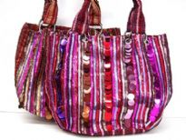 Multi Colored Sequins Fabric Tote Bag with double shoulder straps.