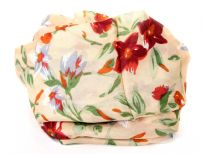 Multi colored floral print over beige colored 100% silk scarf which is square shaped. Made in India.