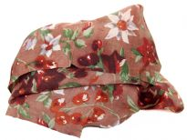 Multi colored floral print over mocha 100% silk scarf which is square shaped. Lightweight & soft in use. Made in India.