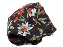Multi colored floral print over black 100% silk scarf which is square shape. Made in India.