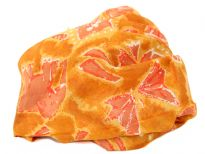 Bright mustard 100% silk scarf with tribal objects print in coral color. This square scarf is lightweight & very soft to use. can be used as a headband or around the neck. Made in India.