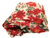 Abstract floral print in red & green over 100% silk square scarf in beige color. Lightweight scarf can be used around the neck or head. Made in India.