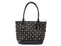 Faux Leather Metal Eyelets studded double handle bag. Top zipper closing, center divider.
