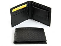 Carry your money in style. This is a faux leather bi-fold mens wallet. Features 3 credit card slots and a snap lock coin slot. As this is faux leather, please be aware that there will be some small creases and nicks in the leather but the wallet are all brand new.