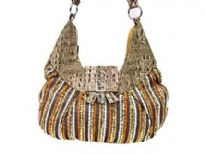 Rayon Fabric Sequin Handbag. Top zipper closing.