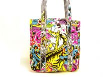 Denim Graffiti Print Handbag