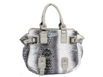 Crocodile embossed PVC double handle Handbag. Top zipper closing.