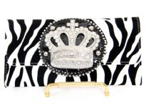 Zebra Print Crown check book wallet