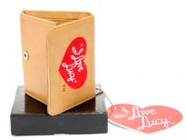 "Carry your money in style. This is a ""I Love Lucy"" Tri-Fold Ladies Wallet with 7 credit card slots, single bill slot for notes, 1 ID Windows and 2 heart shaped picture slots. Snap lock closure. Celebrity Licensed Wallet."
