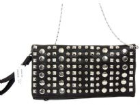Faux leather folding clutch studded with rhinestones. Top zipper closing. Back zipper pocket. wrist strap and metal shoulder chain included.