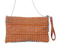 Faux leather rhinestones studded clutch bag. top zipper closing. Back outside zipper pocket. Wrist strap and metal shoulder chain included.