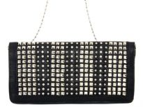 Faux leather folding studded clutch bag. Zipper closing inside the flap & back outside zipper pocket. Wrist strap and metal shoulder chain included.