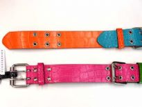 Ladies Belts - Sold Per Dozen. Belts have a multi color animal print texture and buckle details.