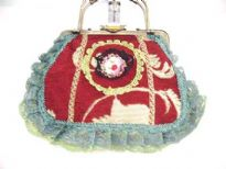 Antique Hand Beaded Lace Bag