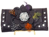 Flower Feather check book wallet