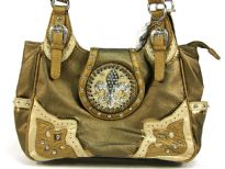 Fleur De Liz Licensed PVC handbag in shining PVC material. patchwork in contrasting colors on the corners, has 2 open side pockets, belt accents on the double handle, zipper closure on top & also a clasp with Fleur De Liz logo in rhinestones.