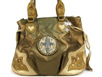 Fleur De Liz Licensed Handbag in Shining PVC. Bag has patchwork design in the corners in contrasting color. Double handle & hanging fringes on the sides of the bag. Top zipper closure. Fleur De Liz logo in center with rhinestones on it.