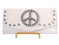 Crocodile Embossed PVC Peace sign check book wallet