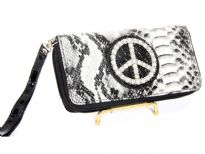 "Animal print embossed ""Peace"" sign double zipper wallet"