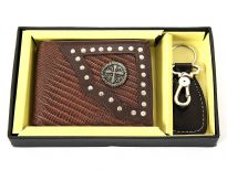 Carry your money in style. This is a genuine leather western style bi-fold men wallets with leather key ring. This is a gift box set. As this is genuine leather, please be aware that there will be some small creases and nicks in the leather but the wallet are all brand new.