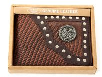 Carry your money in style. This is a genuine leather western style bi-fold men wallets. Comes in a box. As this is genuine leather, please be aware that there will be some small creases and nicks in the leather but the wallet are all brand new.