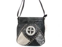 Patch-work Cross Messenger Bag. Top  zipper pocket. Back zipper pocket