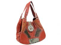 Patch work Cross double handle Bag. Center divider.Back zipper pocket.