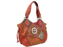 Patch work Cross double handle bag. Top zipper closing. Center divider.Back zipper pocket.