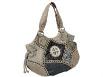 Patch work Cross double handle bag. Top zipper closing. Center divider. Back zipper pocket.