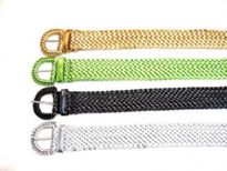 Assorted colors Metallic Belts with braided pattern.
