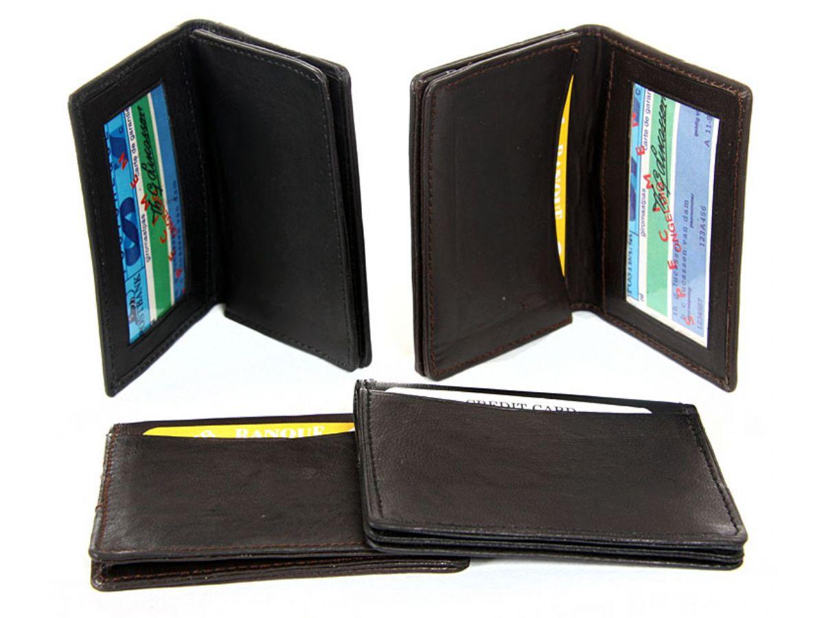 Leather Credit Card Amp Id Holder Slim Design Black Men S
