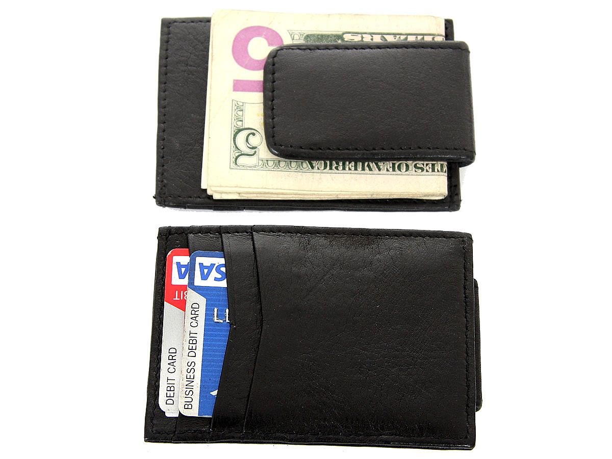 leather slim design magnetic money clip 3 credit card holder - Magnetic Card Holder